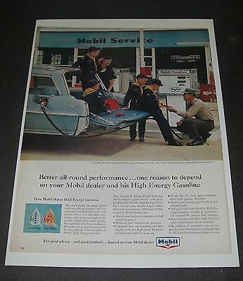 Print Ad 1965 MOBIL Gasoline Mrs Robert Young & Cub Scouts Gas Attendent Pumps.