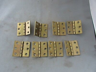 "Lot (8) VTG NOS Brass Plated Limited Degree Butt Hinges 2"" x 2"" 140 150"