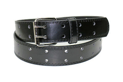 2 HOLE PUNCH LEATHER BELT BLACK - 4 Sizes XL / L / M / S