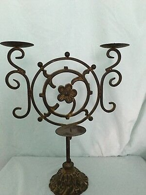 Vintage 3 Tier Rust Cast Iron Candle Holder Candelabra Gothic Rustic Ornate