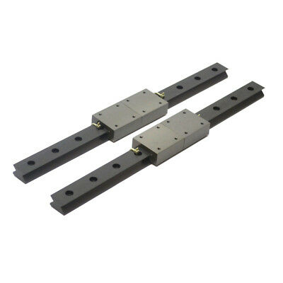 "(2) Linear Motion 15"" (381mm) Guide Rails w/ (2) 2"" x 1-3/4"" Bearing Blocks"