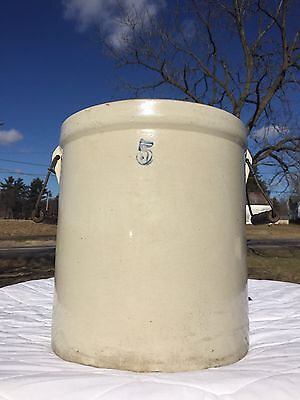 Antique Red Wing ??Unsigned  #5 Crock with Handles four thumbprints on bottom
