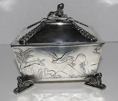 Meriden Silver Plate Co USA Quadruple Plate Footed Box Egyptian Theme 1800s
