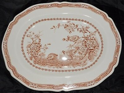 Furnivals Quail 1913 Brown Transferware Serving Platter 15.5 Inches