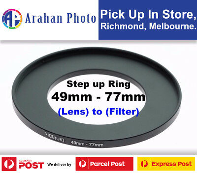 Step Up Ring 49-77mm Filter Lens Adapter 77mm Filter to 49mm Lens