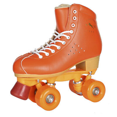 Women Men's Double Row 4 Wheels Leather Quad Roller Skates Boots Skating Sneaker