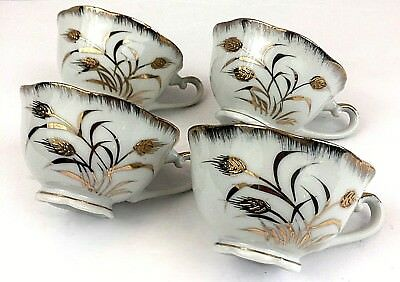 Set of 4 Vintage Napco White Scalloped With Gold Hand Painted Wheat Tea Cups