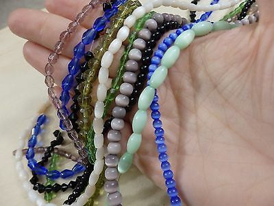 BIG Mixed Lot of 10 strands glass beads. cats eye, round, bicone oval blue green