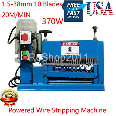 Powered Wire Stripping Machine 1.5-38mm 10 Blades Stripper Peeler Metal Cable US