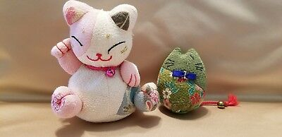 Lot of 2 Stuffed Japanese Cats 1 With Raised Right Paw  R