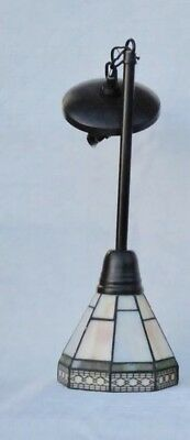 Spectrum Mission Pendant Light Stained Leaded Slag Panel Glass Shade NOS