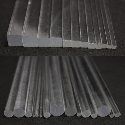 Acrylic Perspex Clear Round Rod Circular Bar Square Rod Bar 100/200/300mm Length