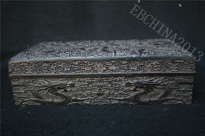 """15"""" Old Chinese Black Rosewood wood carving dragon play bead statue storage box"""