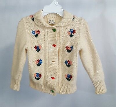 Vntg Reine Schurwolle Toddler Wool Cardigan Sweater Knit  Embroidered