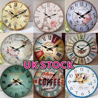 UK Vintage Wooden Wall Clock Shabby Chic Rustic Kitchen Home Decor Antique Style