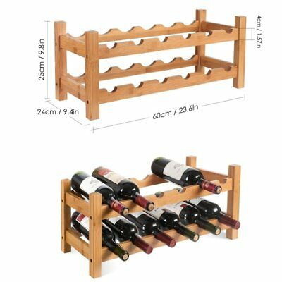 12 bottleTimber wine rack  storage shelf natural wood 3 tier bottle holder AU