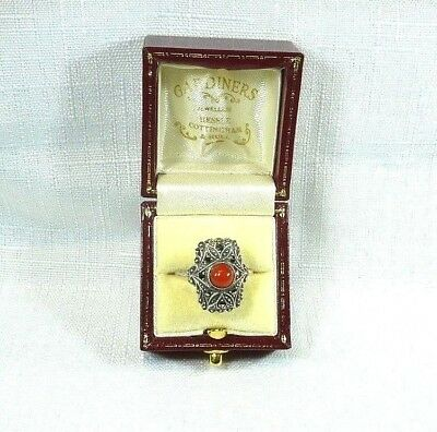 Vintage Art Deco Coral & Marcasite 830 Silver 1925-1930 Ring in Box