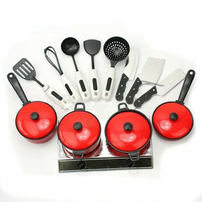 13x Kid Play House Toy Kitchen Utensils Cooking Pot Pan Food Dishes Cookware Kit