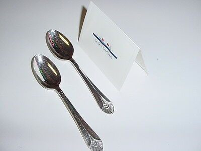 SS UNITED STATES LINES  (2) Silver Tea-Spoons  /  Top Condition