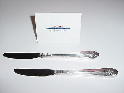 SS UNITED STATES LINES  (2) Large Silver Lunch Knives  /  Top Condition