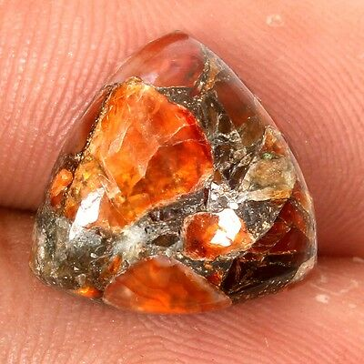 Cabochon CARNELIAN COPPER MOHAVE Trillion 14x14 mm Loose Gemstone 8 Cts S-31159