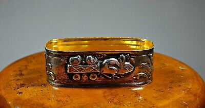 Portugal Sterling Silver Napkin Ring Whit Rabbit Pushing a Cart Load