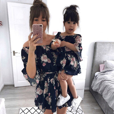 Summer Family Clothes Mother Daughter Womens Girl Short Sleeve Floral Mini Dress