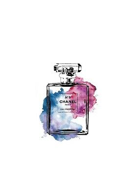 blue and pink watercolour coco chanel perfume bottle print