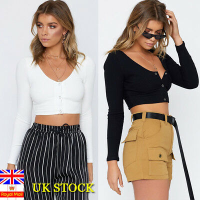 Women Long Sleeve Knitted Sweater Crop Top Ladies Casual Button Up Sweater Plian