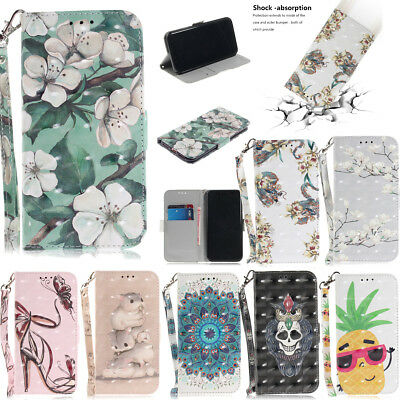 Flowers 3D Print Flip Magnetic Leather Wallet Stand Case Cover For Lot Samsung