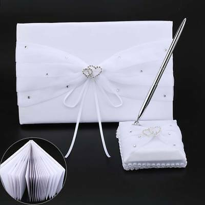 White Wedding Guest Book Table Pen Set With Satin Base and Double Heart Trim