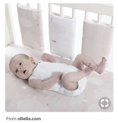 Gorgeous Cot Bumpettes Bumper By Olli Ella Reversible Pink Or White Velcro
