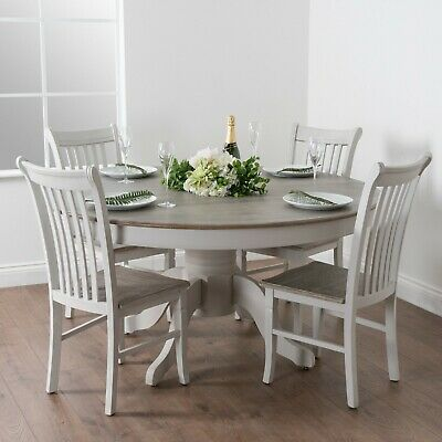 Shabby Chic Country Dove Grey White Wooden Large Round Dining Kitchen Table