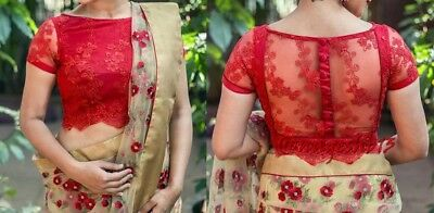 Readymade Saree Blouse,Designer Sari Blouse, Embroidered Net Blouse,Indian Top