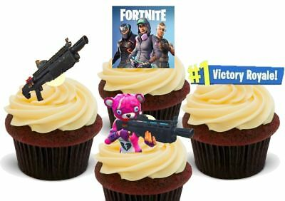 Fortnite Shotgun Pack - 12 Novelty Premium Edible Cake Toppers Decorations Kids