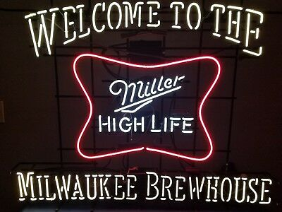 (L@@K) Miller high life beer welcome milwaukee brewhouse neon light bar sign