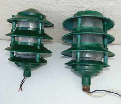 Vintage Pair of Industrial Garden Classic Louvered Lamps Steampunk Green