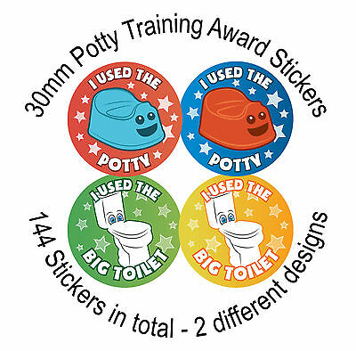 144 Potty Training - 30mm Childrens Reward Stickers, Kids Toilet Seat, Toddler