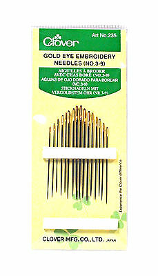 Clover Embroidery Needles Gold Eye Size 3/9