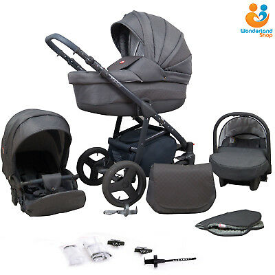 Baby Pram Newborn 3in1 Travel System Car Seat Buggy Stroller Pushchair Carrycot
