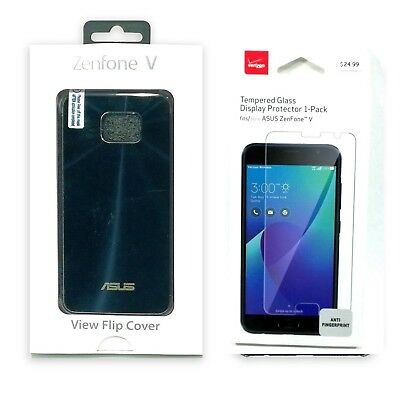 Asus View Flip Cover with Verizon Tempered Glass Protection Case For ZenFone V