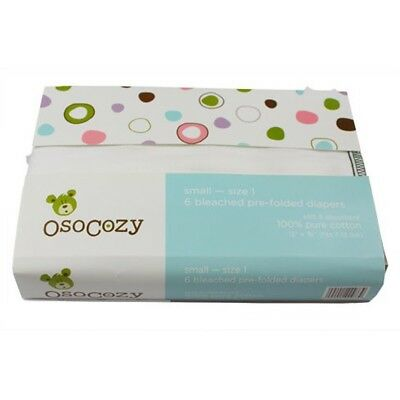 OsoCozy 6 Pack Prefolds Bleached Cloth Diapers, Size 2 , New