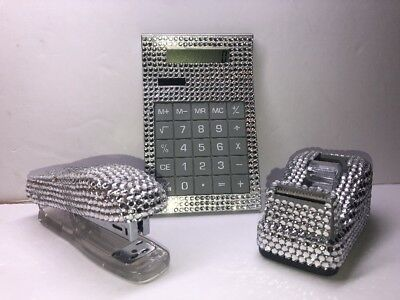 Beadazzled Stapler, Tape Dispanser And Calculator, A Three Piece Set New In Box