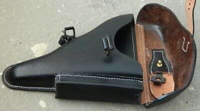 WWII GERMAN LUGER P08 Hardshell BLACK LEATHER HOLSTER w. Takedown Tool