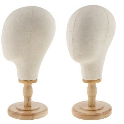 2x Wig Making Canvas Mannequin Head Hat Jewelry Wigs Display Head with Stand