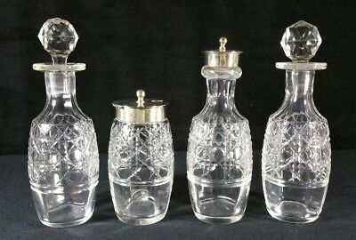 Antique Set Of 4 Cut Glass Caster Bottles With Silver Plate Tops Marked ESPN EXC