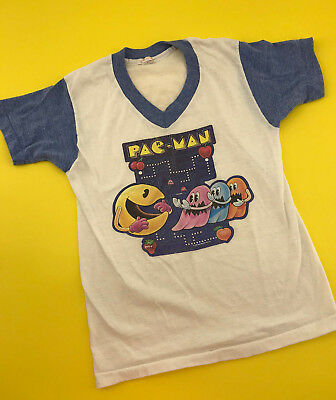 VINTAGE 80's PAC-MAN UNDEROOS THIN MATERIAL RINGER YOUTH L 10/12 T-SHIRT USA