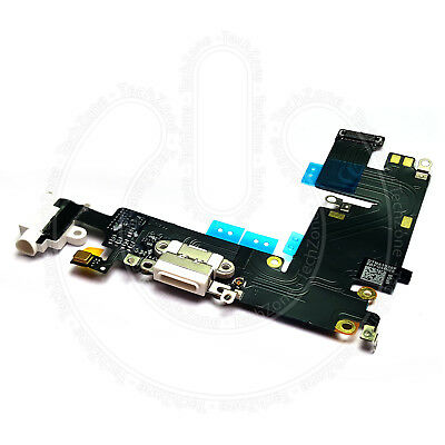 """iPhone 6 PLUS 5.5"""" White Charging Port Charger Flex Headphone Jack Replacement"""