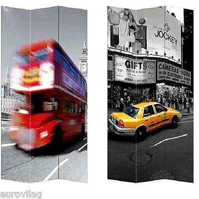 PARAVENT RAUMTEILER Traffic New York London 120x180 cm