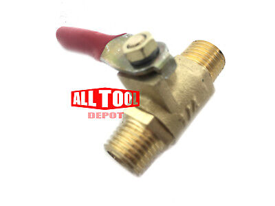 "1/4"" Male Male NPT Brass Ball Valve Water Moisture Air Tank Drain Shut Off"